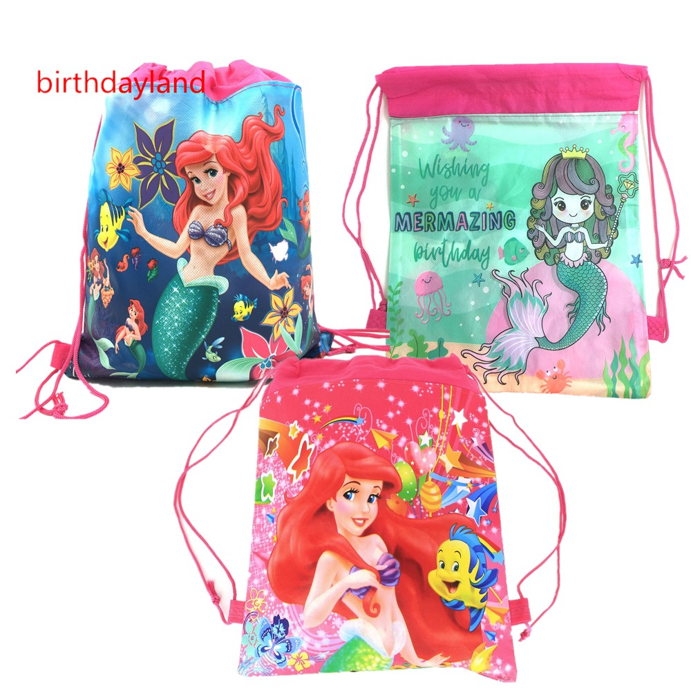 1Pcs Kawaii Little Mermaid Theme Non-woven Fabrics Bag Drawstring Backpack Party Gift Bag Shopping Bag Vest Bag