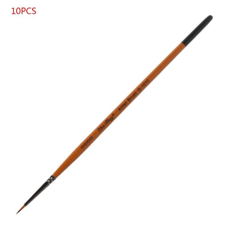 10 шт./компл. тонкая ручная роспись, тонкая ручка-крючок, наконечник для рисования, нейлоновая кисть, акриловая живопись, товары для рукоделия...
