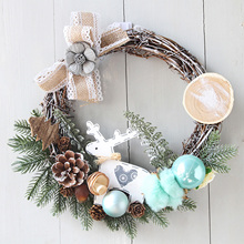 Place-Props Decoration Christmas-Wreath Front-Door-Flowers Xmas Artificial Hanging-Ornaments