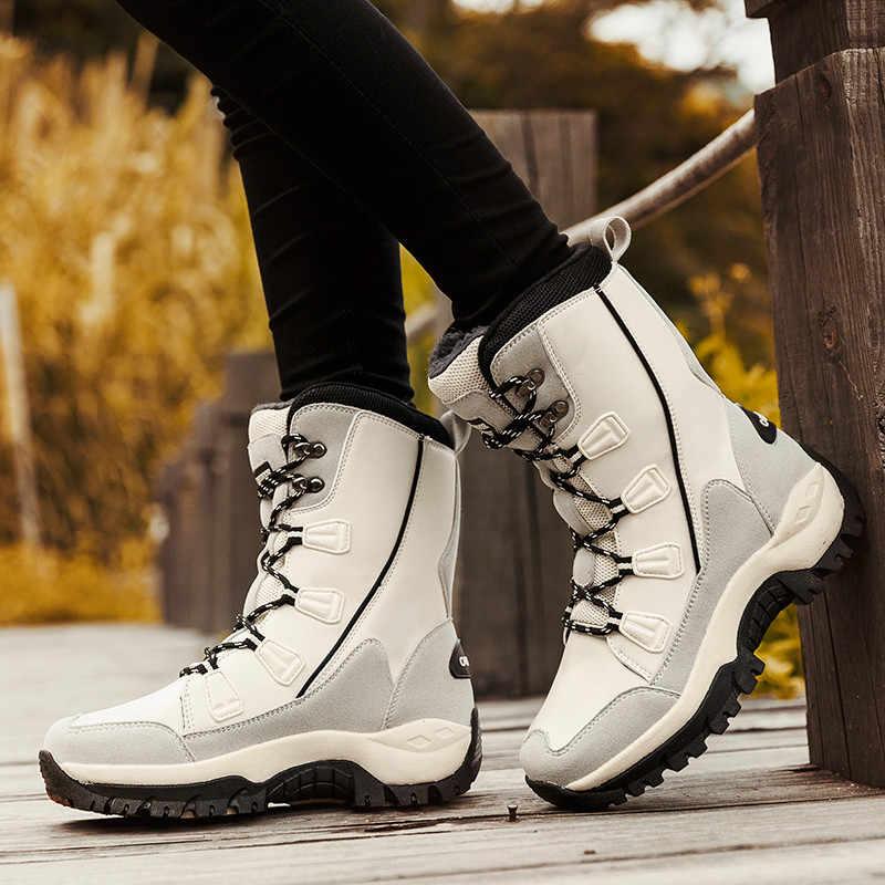 PINSEN 2020 แฟชั่นรองเท้าบู๊ทคุณภาพสูงกลางฤดูหนาวหิมะรองเท้าผู้หญิง LACE-up สบายกลางแจ้ง -SLIP Rain BOOTS