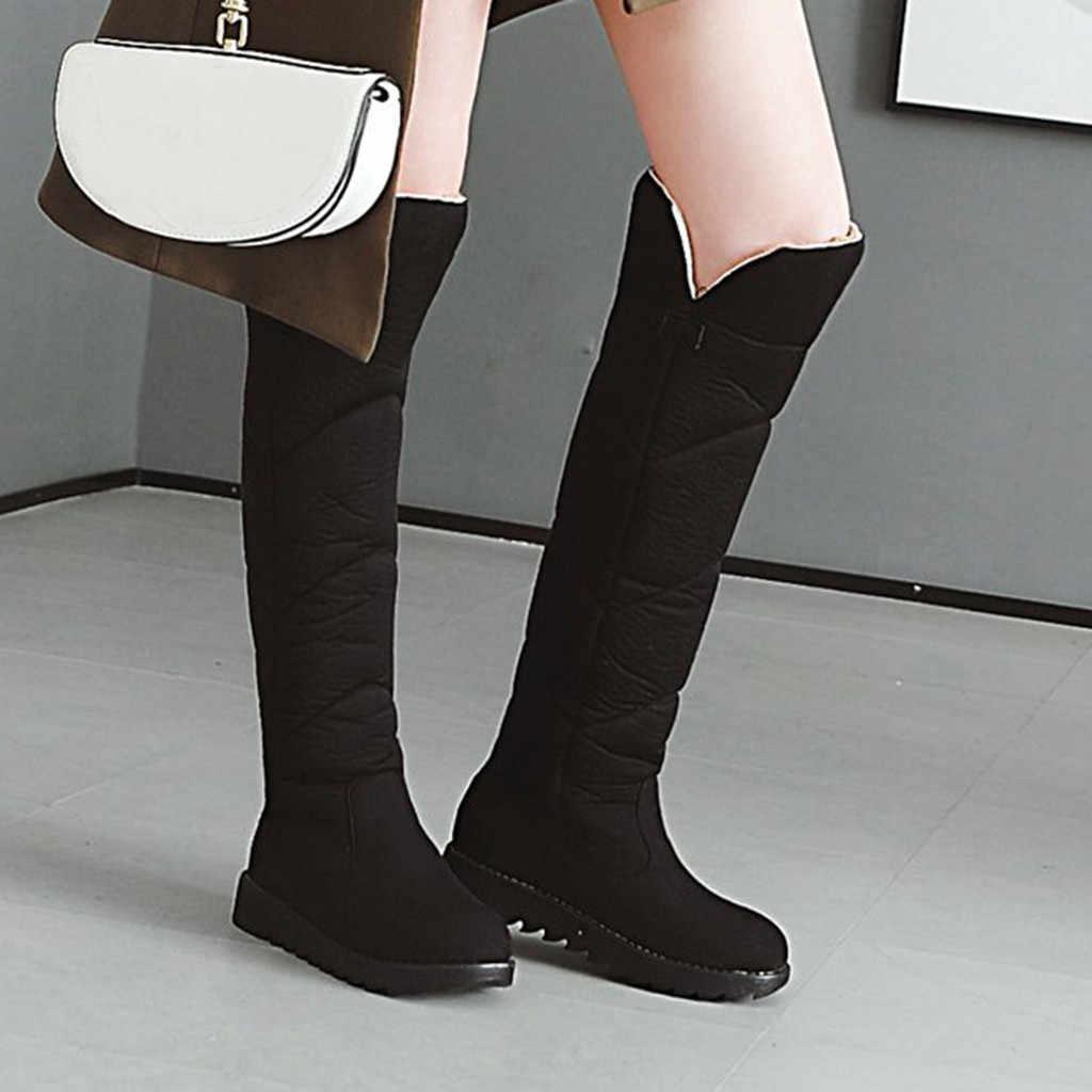 Moda saf renk yuvarlak Toe Slip-On yüksek çizmeler düz topuklu sıcak tutmak aşırı diz uzun patik kadınlar peluş taban kar botları
