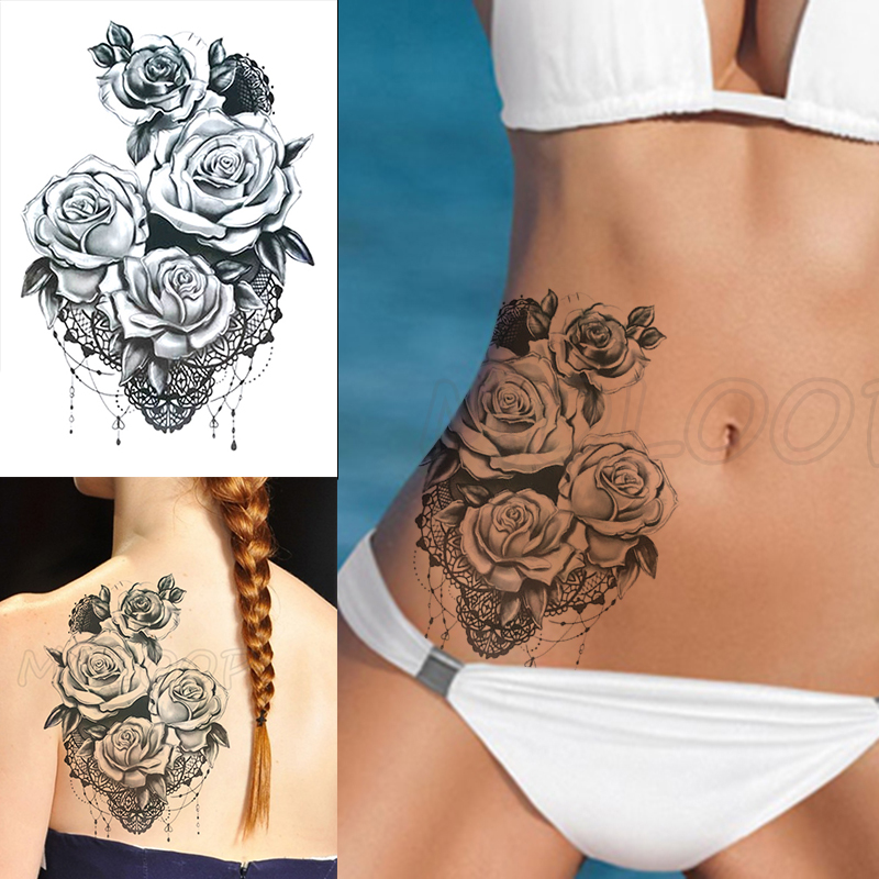 Temporary Tattoo Stickers Romantic Sexy Rose Flowers Fake Tatto Waterproof Tatoo Back Leg Arm Belly Big Size For Women Men Girl
