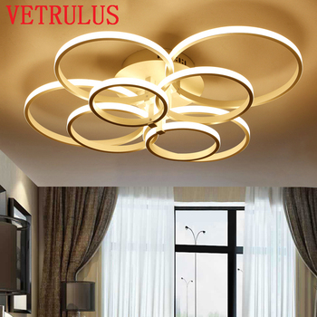 Modern LED Ceiling Chandelier Lights Remote Led Acrylic Rings Chandeliers Plafon Lighting Fixtures Lustre Lamp