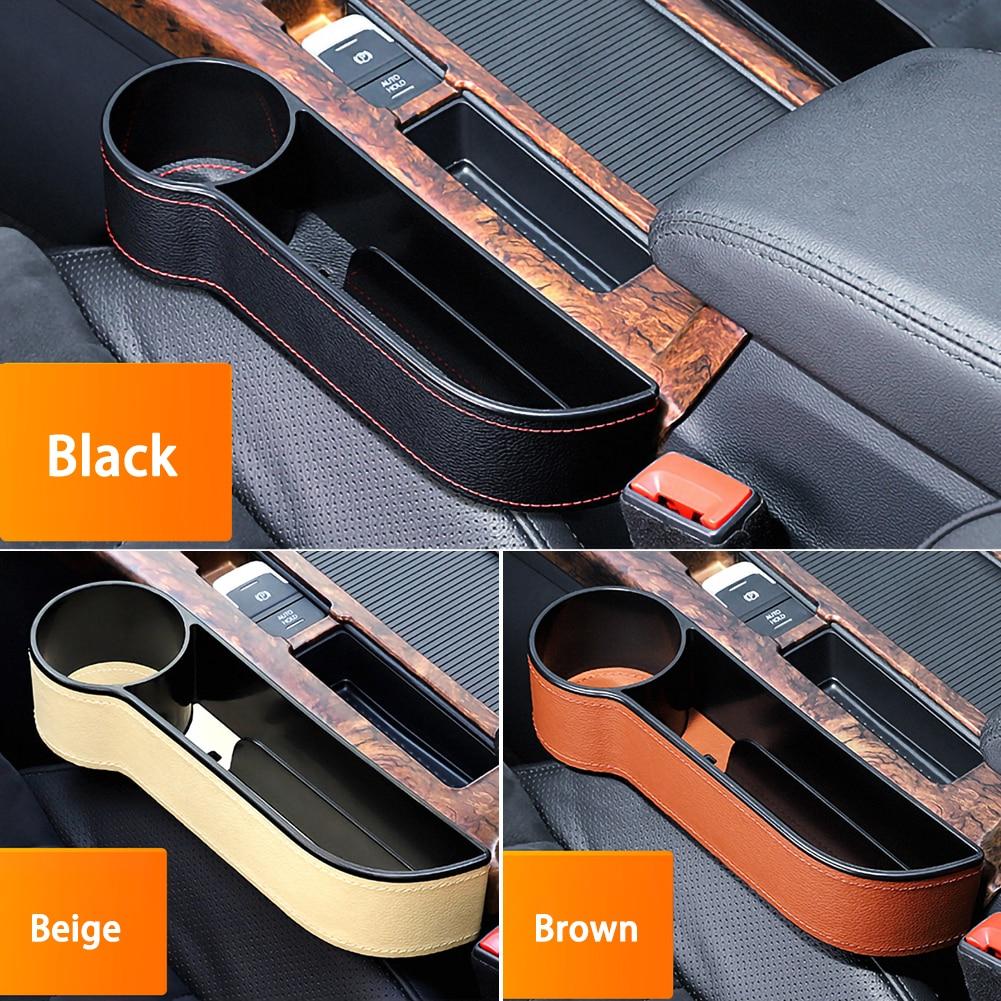 Car Seat Gap Slit Pocket Catcher Organizer PU Leather Storage Box Phone Bottle Cups Holder Auto Car Accessories Interior