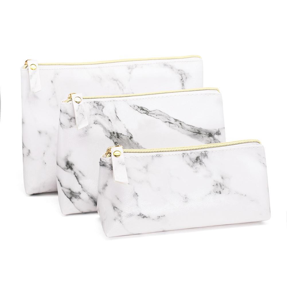 Fashion Marble PU Leather Cosmetic Bag  Storage Bag Portable Ladies Travel Square Makeup Brushes Bag