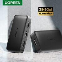 UGREEN-conmutador HDMI 3 en 1, 4K, HDMI, divisor para Xiaomi Mi Box 4k @ 30Hz, para Nintendo Switch PS4, con Control remoto IR