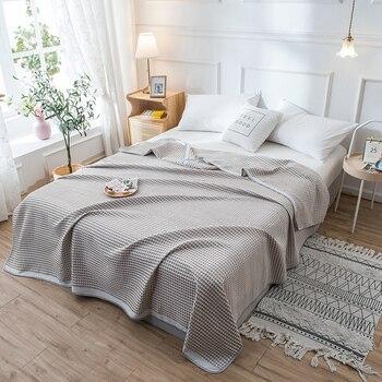 Manta de waffle simple japonesa, tela de algodón Clase A, toalla de aire acondicionado, manta de doble siesta de color sólido LB61626