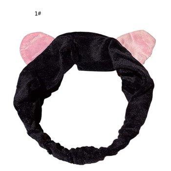 Nakrycia głowy opaski do włosów grube kocie uszy typ mycie twarzy opaski do włosów Turban akcesoria do włosów mycie twarzy opaski do włosów dziewczyny opaski tanie i dobre opinie CN (pochodzenie) inny Akcesoria do stylizacji diameter 11cm length 23cm Fine cotton + rubber band black pink red white gray