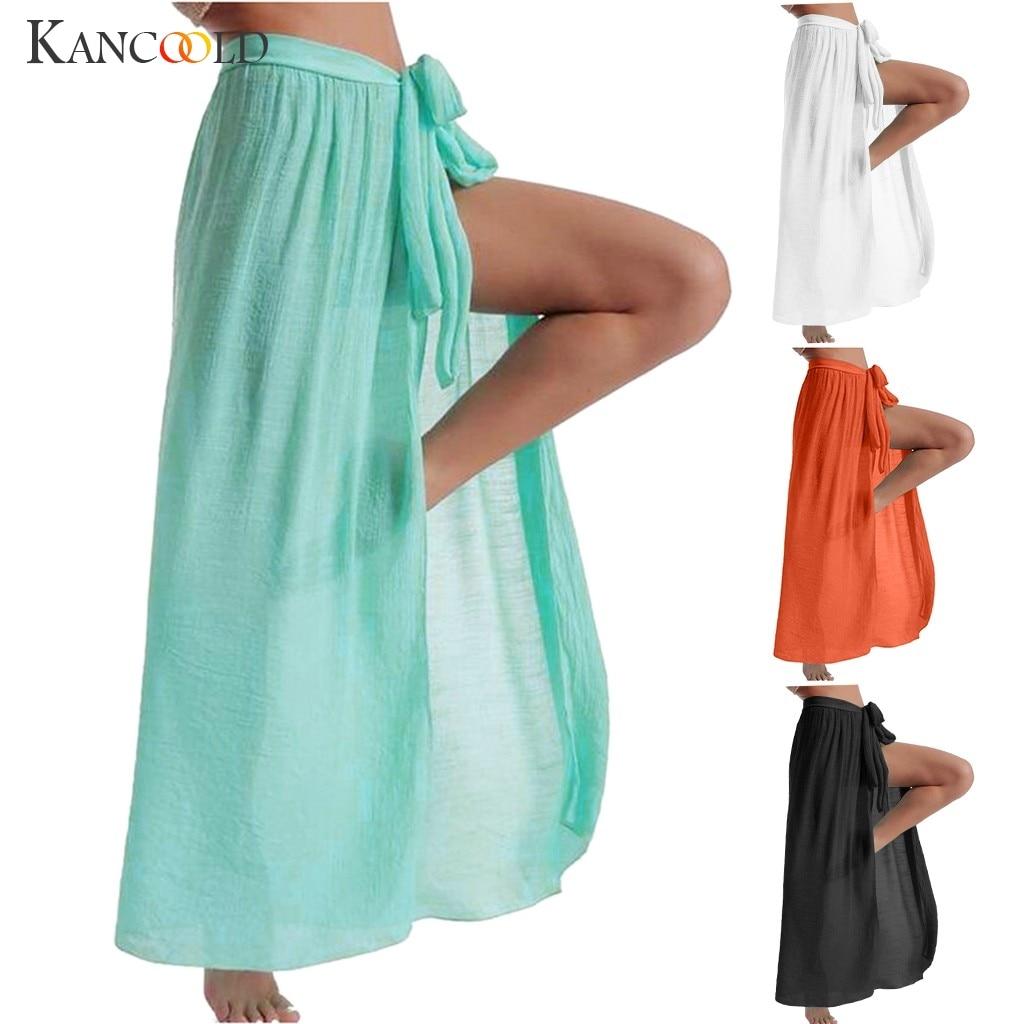 Women Boho Chiffon Swimwear Pareo Scarf Beach Cover Up Wrap Kaftan Sarong Skirt