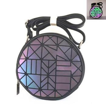 Fashion Brand luminous Women's shoulder bag Cute round geometric holographic bag for girls Party Crossbody bag ladies clutch 9