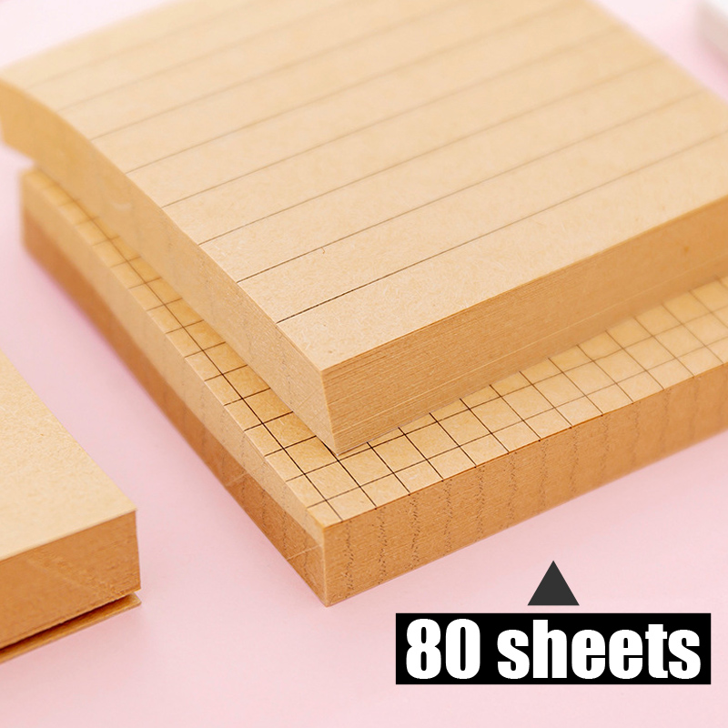 80sheets Sticky Notes Kraft Paper Grid Blank Memo Pad Stationery Memo Pads Sheets Notepad Stationary Office Decoration Note Pad