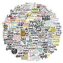 10/50/100 pçs inglês letras inspiradoras citações adesivo para computador portátil skate caso capacete brinquedo dos desenhos animados decalques adesivos