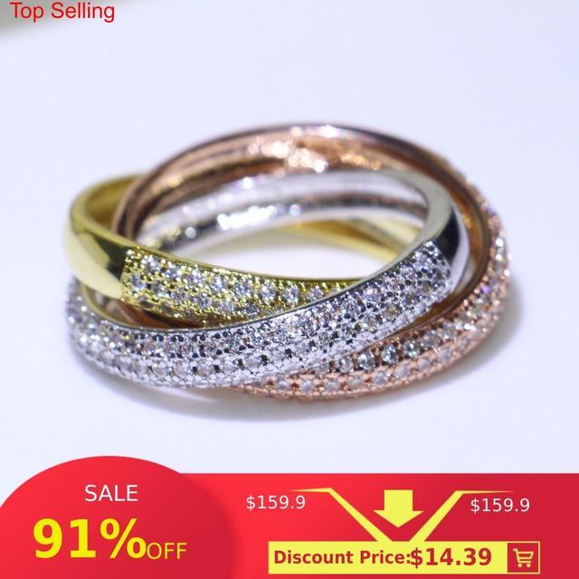 משולש עיגולים זהב/רוז זהב/כסף טבעת שלושה צבעים יוקרה תכשיטי 925 כסף פייב CZ טבעת נשים חתונה אצבע טבעות מתנה
