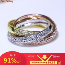 Triple Cirkels Gold/Rose Gold/Silver Ring Drie Kleuren Luxe Sieraden 925 Zilveren Pave Cz Ring Vrouwen Bruiloft vinger Ringen Gift