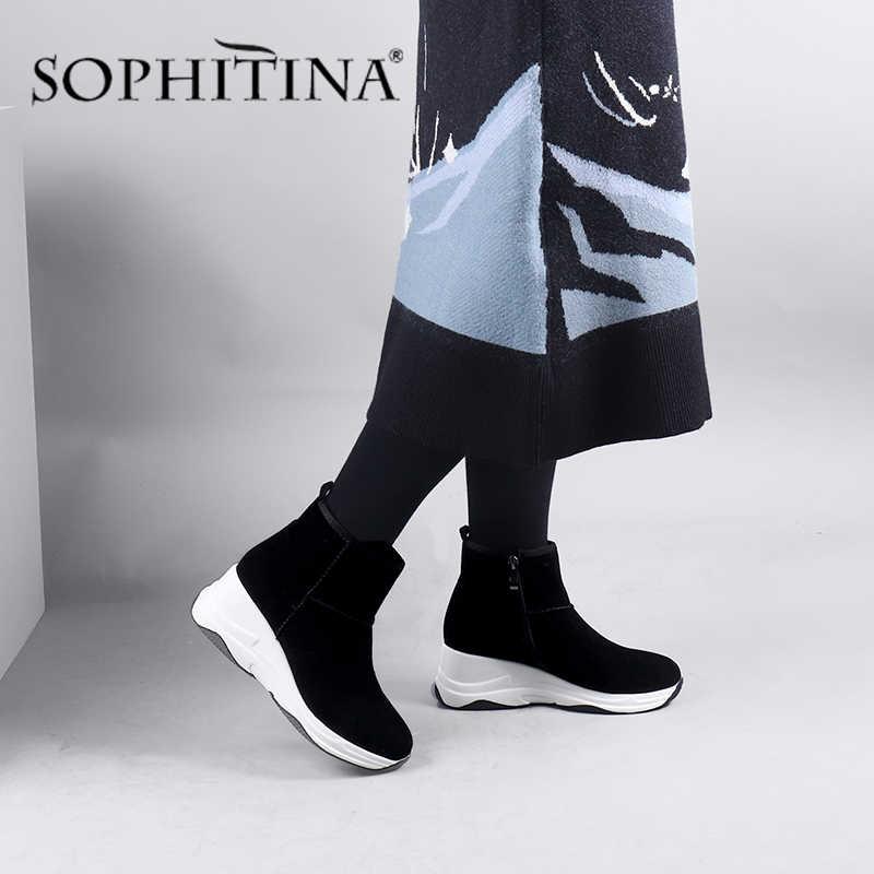 SOPHITINA sıcak kama çizmeler katı rahat çocuk süet yuvarlak ayak fermuar yeni tasarım kadın ayakkabı şık kış yarım çizmeler CQ01