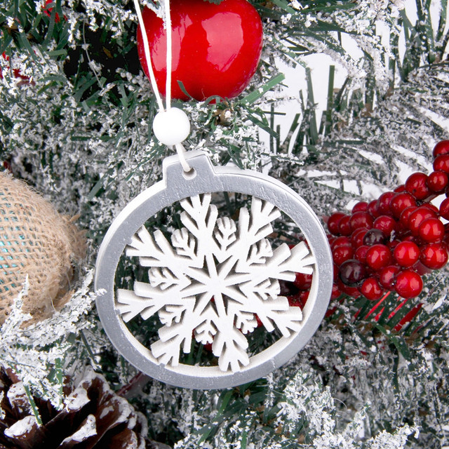 3PCS/lot Creative White Deer/Snowflake Wooden Pendants Christmas Tree Ornaments Decorations Xmas Wood Crafts Home Party Supplies 25