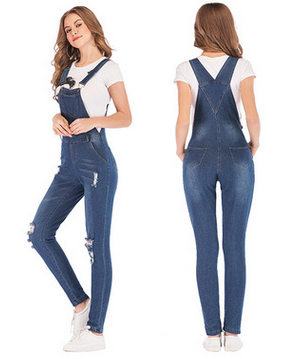 CYSINCOS 2019 New Lady Blue Denim Overalls   Jumpsuit   Rompers Belted Hole Hollow Out Pocket Women Casual Fashion Female Pants Hot