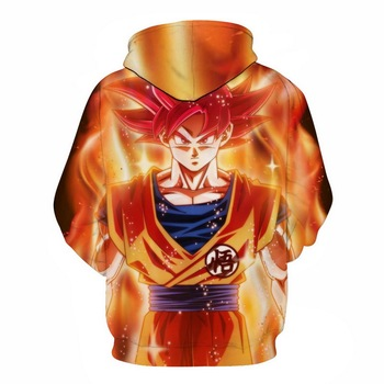 3D Cool Anime Dragon Ball Print Men's Hoodies Harajuku Anime  Style Sweatshirts With Hat Long Sleeve Pullover  Boy golden Coats 2