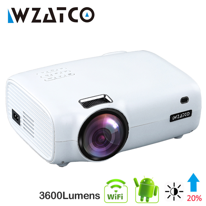 WZATCO E600 Android 9.0 Wifi Smart Portable Mini LED Projector Support Full HD 1080p 4K AC3 Video Home Theater Beamer Proyector
