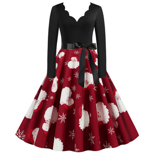 Red Christmas Dress Long Sleeve Women Casual Night Party Dress Christmas Robe 50S 60S Rockabilly Swing Pinup Dresses Vestidos