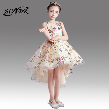2017 flower girls dresses for wedding high low o neck ball gown sleeveless lace beads ribbon spring pageant kids communion dress High Low Length Kids Wedding Party Gown HT025 Sparkling Sequined Flower Girl Dress O-Neck Sleeveless Communion Dresses For Girls