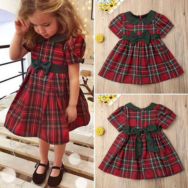 Canis Toddler Kid Baby Girls Plaids Party Pageant Xmas Princess Dress Clothes