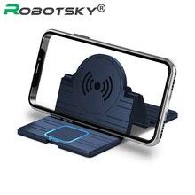 15w sem fio carregador de carro almofada de silicone antiderrapante esteira suporte do telefone do carro estação de carregamento rápido para iphone 11 pro redmi nota 8