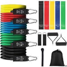 17 pçs faixas de resistência conjunto faixa elástica de látex para esportes yoga crossfit treinamento de borracha fita de fitness ginásio goma equipamentos de exercício
