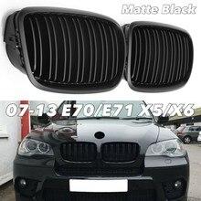 Preto fosco amortecedor dianteiro duplo slat frente rim grill grille para-bmw x5 x6 e70 e71 2007-2014 de alta qualidade acessórios do carro