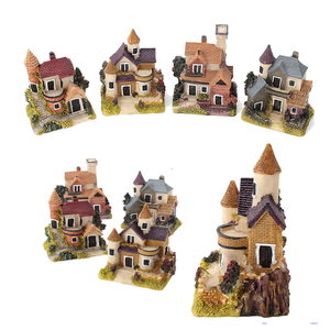 Christmas Fairy Garden Micro Landscape House Miniature Home Decoration Resin Mini Craft Figurine Plant Pot Garden Ornament