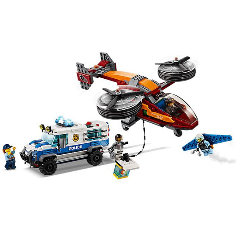 2019 NEW 11209 424pcs City Arctic Sky Police Diamond Heist Winged Jetpack Transporter Building Block 60209 Toy