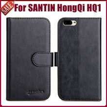 "Hot! SANTIN HongQi HQ1 Case 5.5"" 6 Colors Flip Soft Leather Phone Wallet Cover Stand Function Case Credit Card Slots(China)"