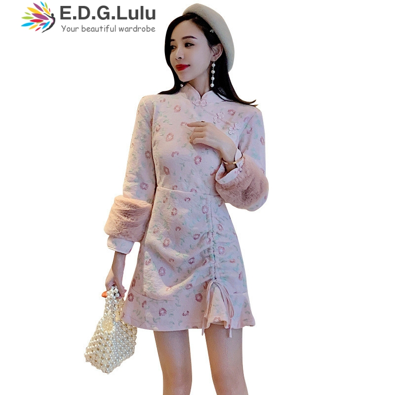 EDGLuLu elegant floral print pink <font><b>dress</b></font> with long sleeve drawstring lace-up mini vintage chinese style <font><b>dress</b></font> autumn 2019 image