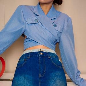 Image 4 - Deuxtwinstyle asymétrique mince femmes Blouses revers col à manches longues décontracté court dessus de chemise femme mode vêtements 2019 nouveau