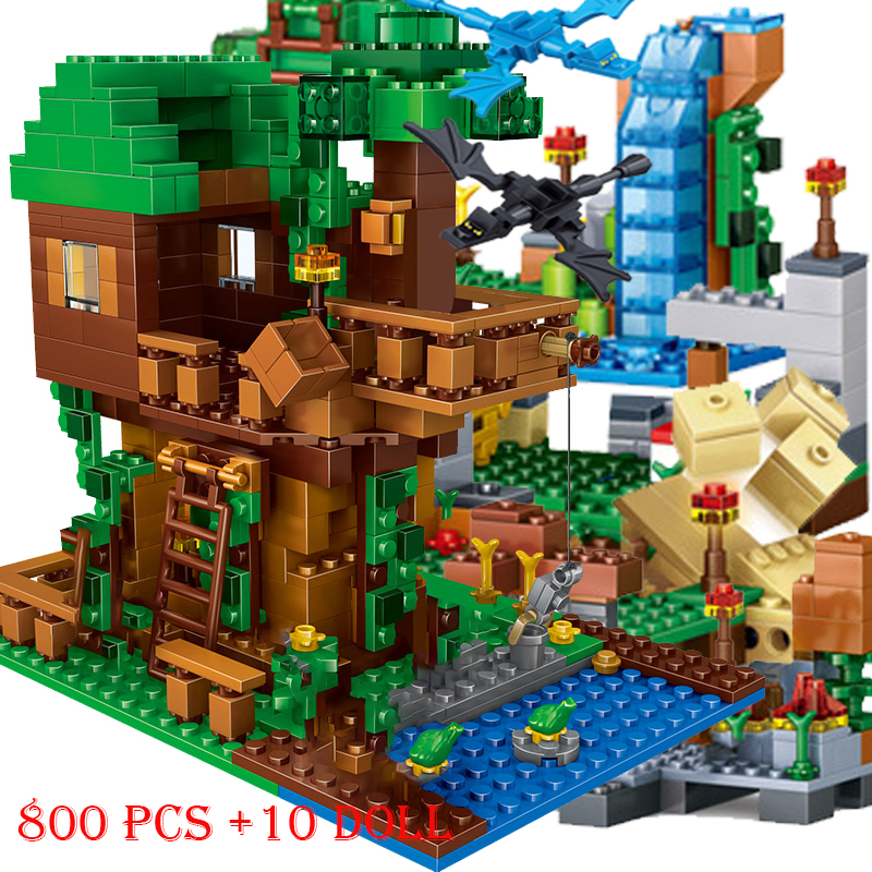 1208PCS Building Blocks Mountain Cave Light My Worlds Village Warhorse City Tree House With Elevator Bricks Toys Children Gift