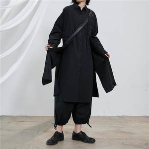 [EAM] Women Black Back Vent Split Long Big Size Blouse New Lapel Long Sleeve Loose Fit Shirt Fashion Spring Autumn 2020 1T223