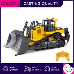 HUINA 1:16 RC Truck Heavy Bulldozer Caterpillar Alloy Tractor Model Engineering Car Excavator Radio Controlled Car Toys for Boys