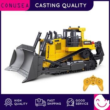 Huina 116 rc caminhão pesado bulldozer caterpillar liga trator modelo de engenharia carro escavadeira rádio carro controlado brinquedos para meninos