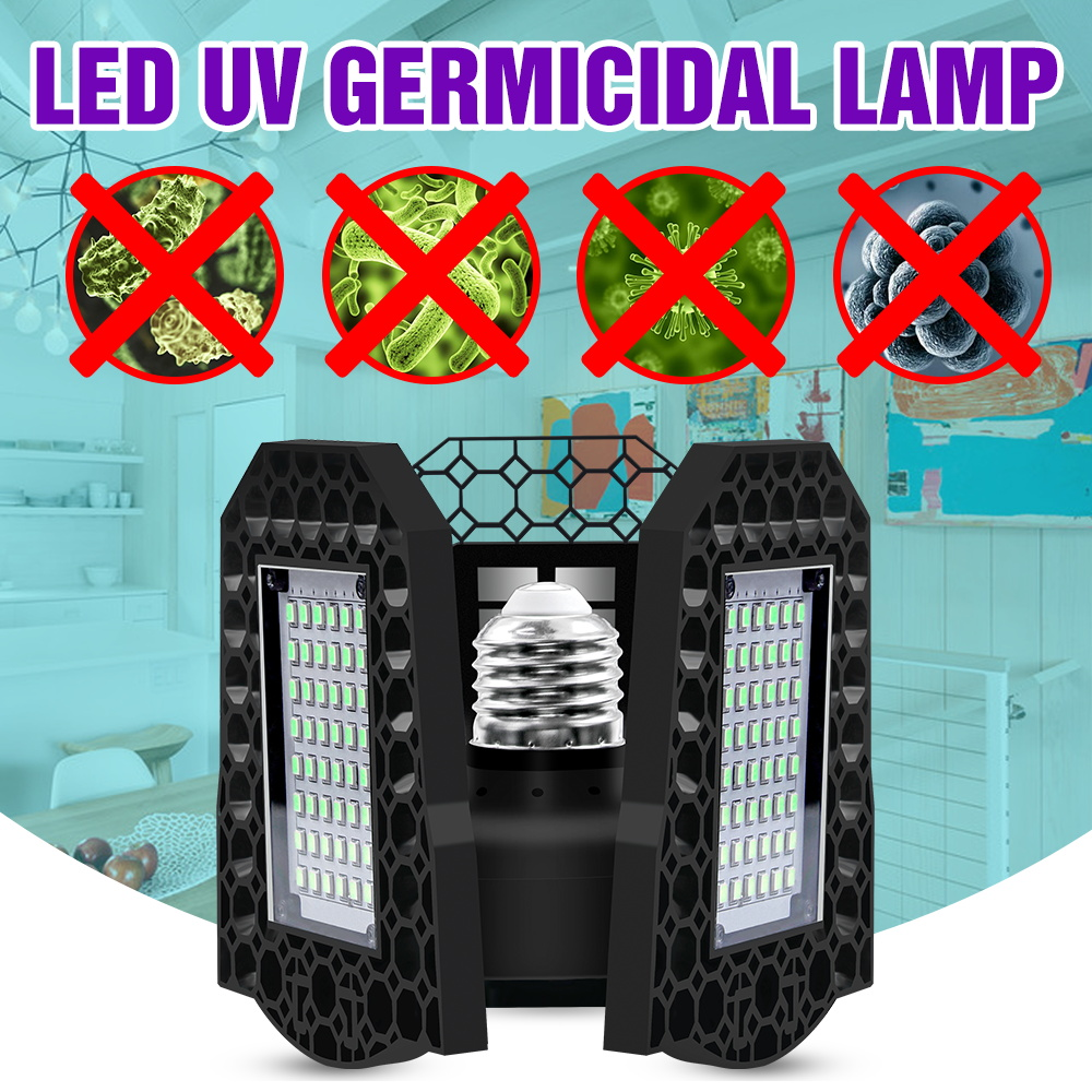 80W 60W 40W <font><b>UV</b></font> Sterlizer Light Led 220V UVC Germicida Lamp <font><b>E27</b></font> Ultraviolet Disinfection Led Light <font><b>Bulb</b></font> 110V Bactericidal Lampara image