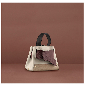 Genuine leather 2 pieces sac main femme cross-shoulder handbag Patchwork belt buckles bucket bag bolsa feminina