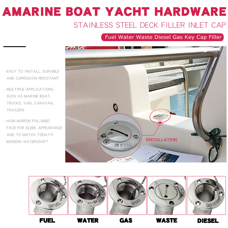 Image 2 - 38mm 52mm Marine Boat Hardware Deck Filler AISI 316 Stainless Steel Fuel Water Waste Diesel Gas Key Cap Filler 1 1/2 and 2 inch-in Marine Hardware from Automobiles & Motorcycles