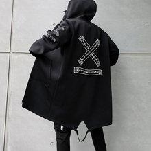 2020 autunno uomo giacche con cappuccio stampa Harajuku giacca a vento nastro soprabito uomo Casual capispalla Hip Hop Streetwear cappotti LBZ155