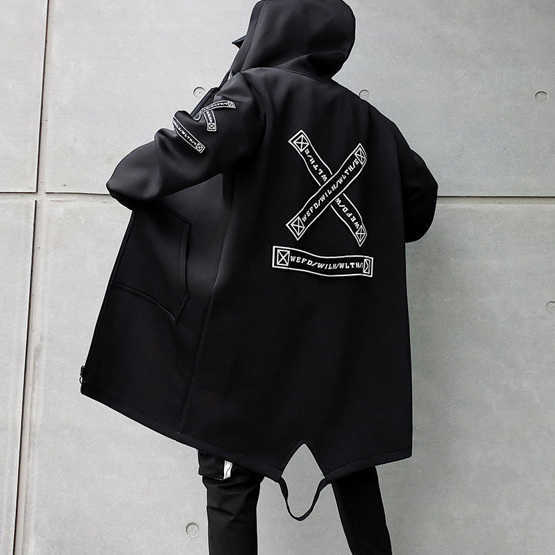 2021 Autumn Men Hooded Jackets Print Harajuku Windbreaker Ribbon Overcoat Male Casual Outwear Hip Hop Streetwear Coats LBZ155
