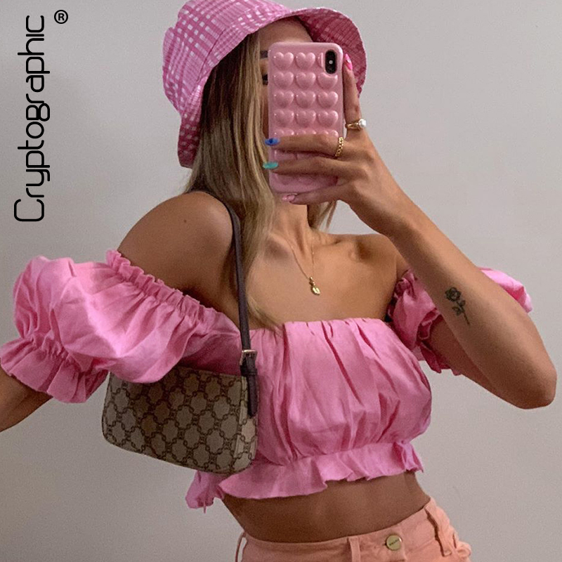 Cryptographic Off Shooulder Fashion Pink Women's Shirts Crop Top Summer T-Shirts Lantern Sleeve Sexy Backless Blouses Shirt Tops