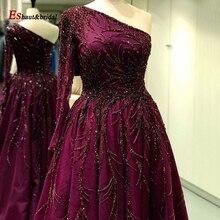여성을위한 두바이 이브닝 드레스 2020 한 어깨 부르고뉴 아랍어 비즈 수제 섹시 럭셔리 공식 파티 드레스