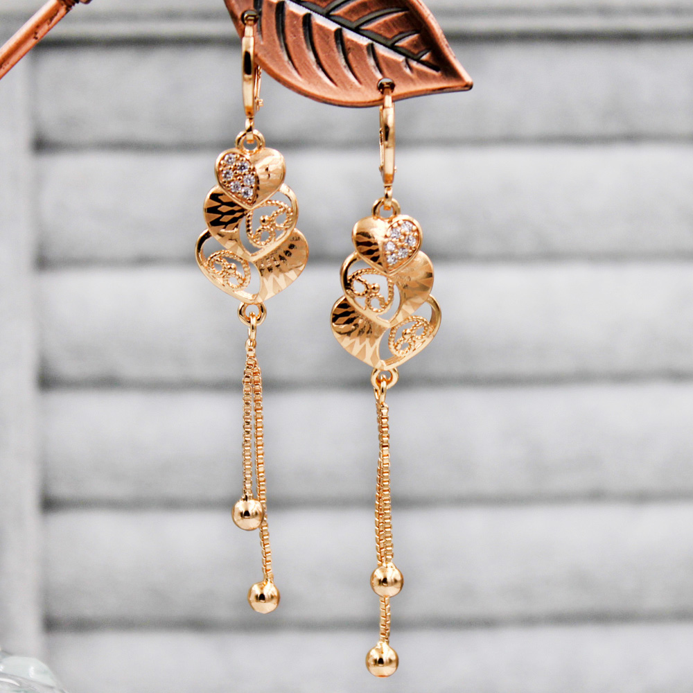 Long Chain Drop Earrings For Women's Earrings Gold Color Heart Earring  White Zircon With  Luxury Jewelry For Wedding Party Gift
