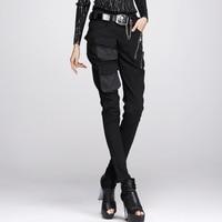 Women's Long pant girl autumn winter zipper bag black elastic pants show more thin foot trousers 338078 ms