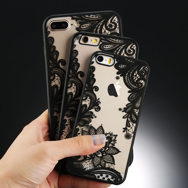 USLION Sexy Floral Phone Case para Apple iPhone 7 8 6 6s 5 5s SE Plus Lace Flower Hard PC Estuches Funda trasera para iPhone X XR XS Max