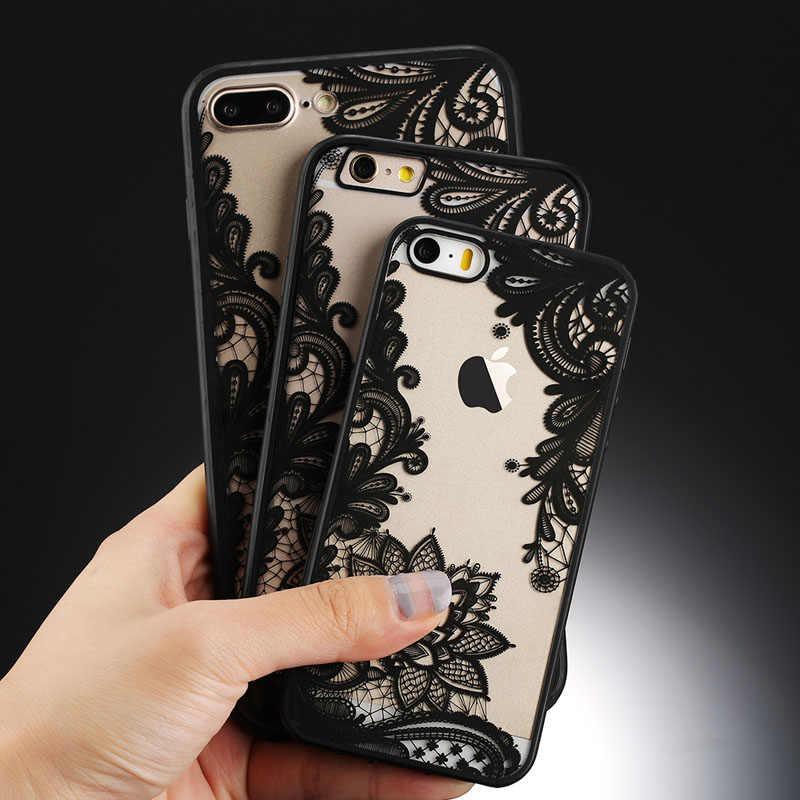 Uslion Gợi Cảm Hoa Ốp Lưng Điện Thoại Apple iPhone 7 8 6 6 S 5 5S SE Plus Ren Hoa PC Cứng Trường Hợp Trong Cho iPhone X XR XS Max