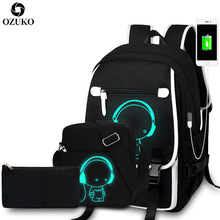 OZUKO New Fashion School Backpacks Student Luminous Cartoon Anime School Bags For Teenager Boys Girls USB Charge Laptop Backpack